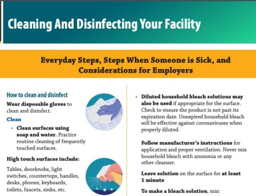 CDC: Cleaning and Disinfecting Facilities